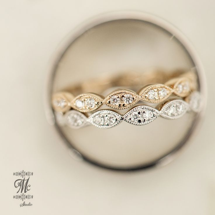 Vintage style diamond station wedding bands in 14k white & yellow gold, also available in 14k rose gold!  photography by AMC studio