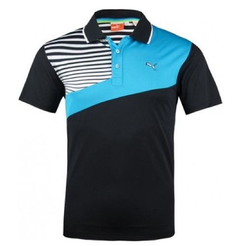 Puma Men's Colorblock Stripe Tech Polo Shirt - Black - You save: US $35.01 (46%)