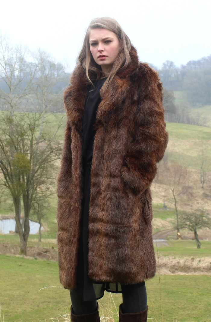 Bear Faux Fur Long Coat Countryside Style Autumn Winter AW13 Ruby