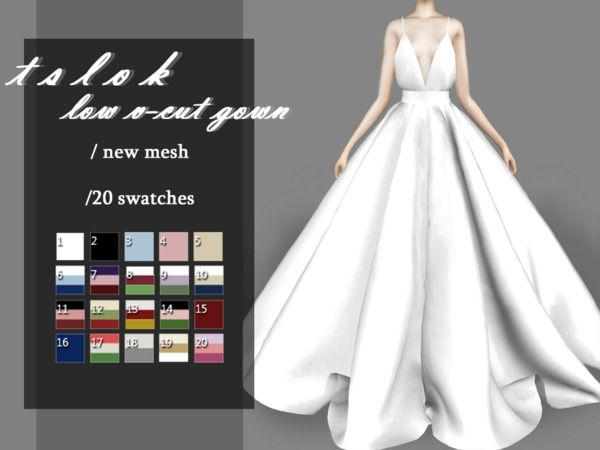 Low V-Cut Gown by tslok at TSR • Sims 4 Updates