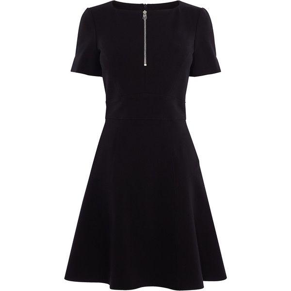 Karen Millen Fit & Flare Dress ($250) ❤ liked on Polyvore featuring dresses, skater dresses, lbd dress, short-sleeve dresses, skater skirt dress and karen millen dresses