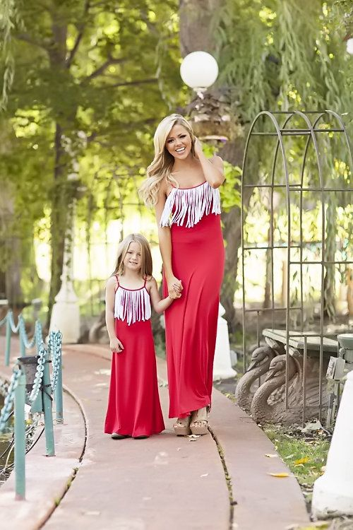 Mommy Fringed for Life Red White Dress - Ryleigh Rue Clothing by MVB ... 529f42522