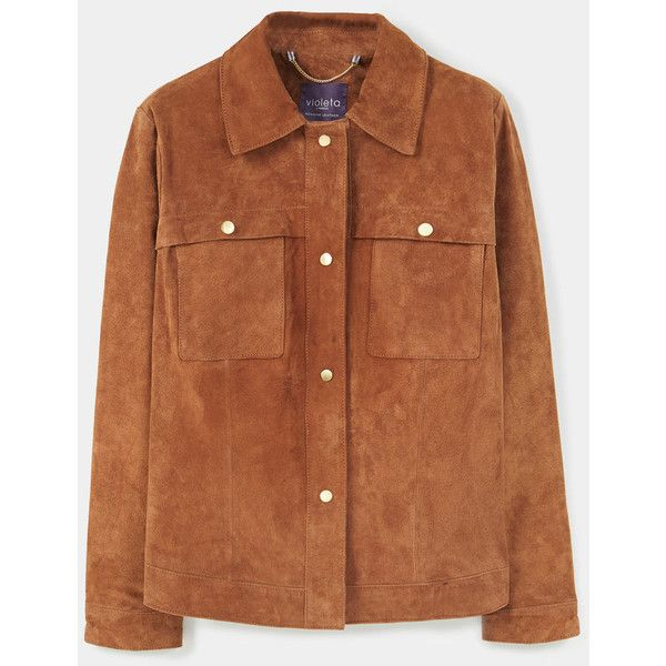 Buttoned Suede Jacket (€71) ❤ liked on Polyvore featuring outerwear, jackets, tops, coats & jackets, long sleeve jacket, button jacket, brown suede jacket, mango jackets and suede leather jacket