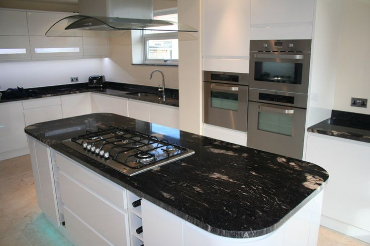 Cosmic Black Granite Benchtops With White Cupboard Fronts Kitchen Pinterest Black Granite