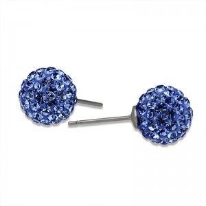 Blue Crystal Ball Stud Earrings