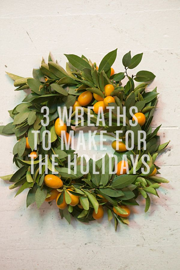 DIY :: 3 Wreaths to Make ( http://ohhappyday.com/2012/12/3-wreaths-to-make-for-the-holidays/ )