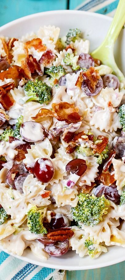 Pasta Salad with grapes, broccoli, bacon, and pecans. The perfect blend of sweet and salty!