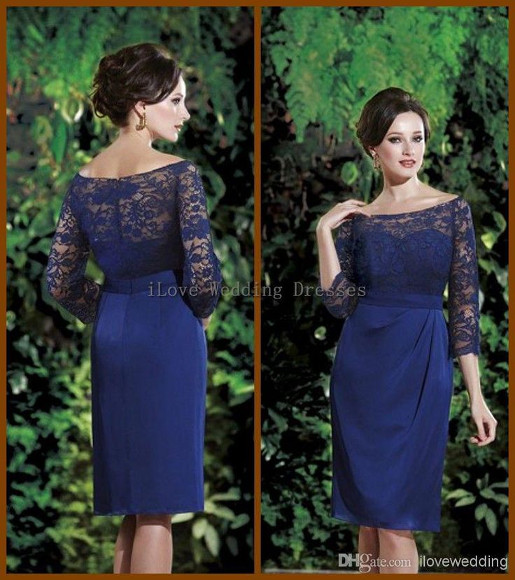 Wholesale Mother of the Bride Dress - Buy 2014 Spring Autumn Long Sleeves Lace Mother of the Bride Dresses Short Knee Length Blue Ruffle Bateau Neck Formal Evening Gowns Zip YD63, $129.0 | DHgate