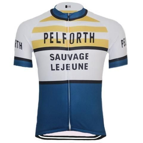 Pelforth Sauvage Lejeune vintage cycling jersey replica  9d30ccb49