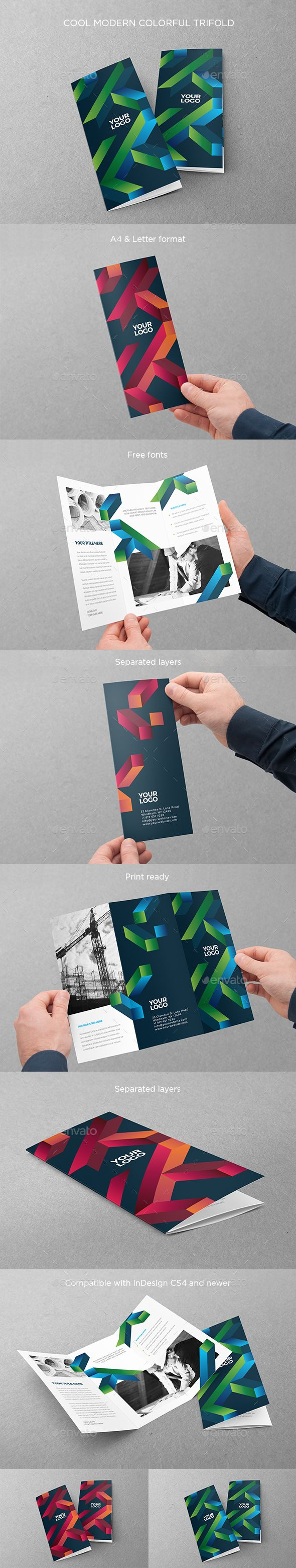 Cool Modern Colorful Trifold Brochure Template InDesign INDD