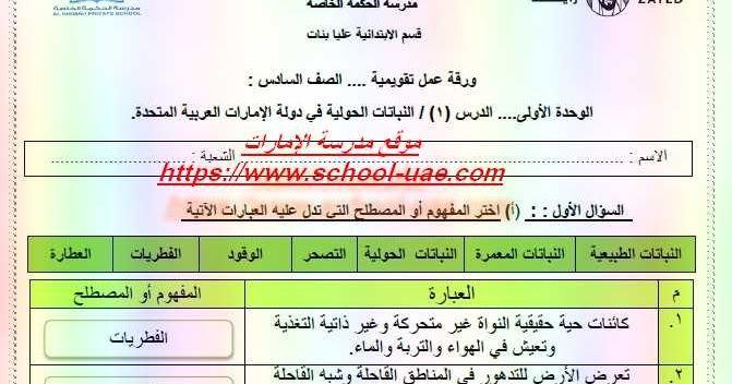 أوراق عمل محلولة درس النباتات الحولية فى دولة الامارات العربية المتحدة مادة الدراسات الاجتماعية والتربية الوطنية للصف السادس ا Worksheets School Periodic Table
