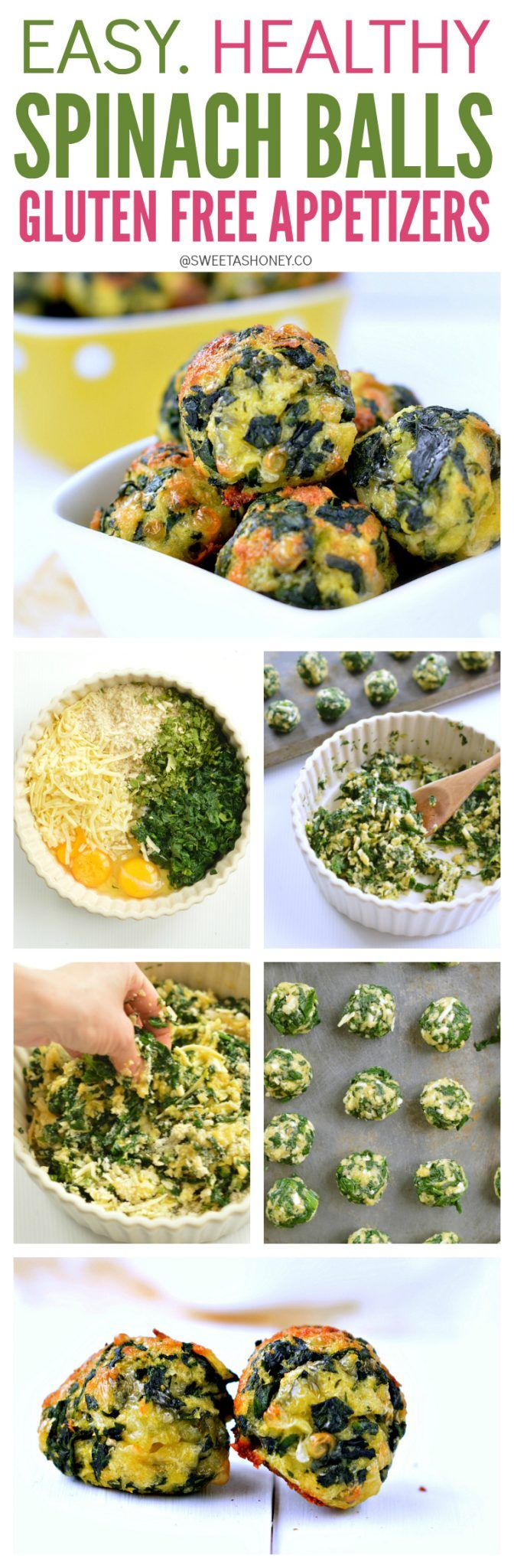 A great party appetizer. Healthy Spinach Balls recipe. Gluten free party food that everyone love. Clean eating approved!