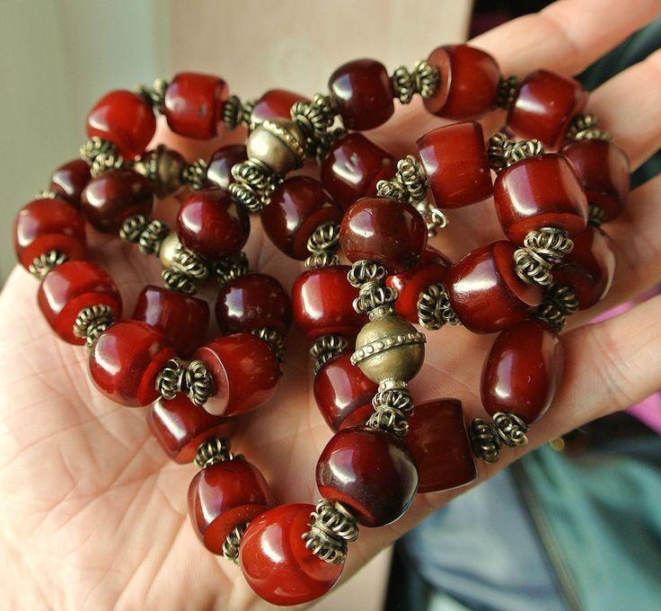 Rare Stunning Burnt Cherry Amber Bakelite & Silver Long Necklace £442.00 (18Bds)