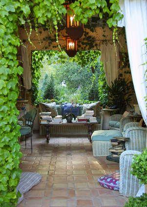 Patio – covered lanai – Boston ivy – cozy sitting room – romantic lighting – saltillo tiles