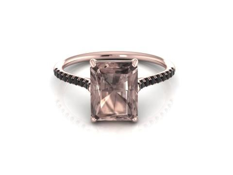 14K Rose Gold Emerald Cut Smoky Quartz Ring
