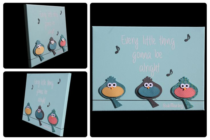 3D Nursery Art - Birds, Music Notes, Bob Marley Quote