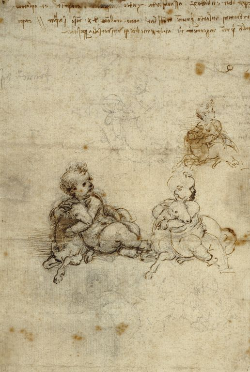 Studies for the Christ Child with a Lamb (recto); Head of an Old Man, and Studies of Machinery (verso); Leonardo da Vinci (Italian, 1452 - 1519); Italy; about 1503 - 1506; Black chalk, pen and brown ink.