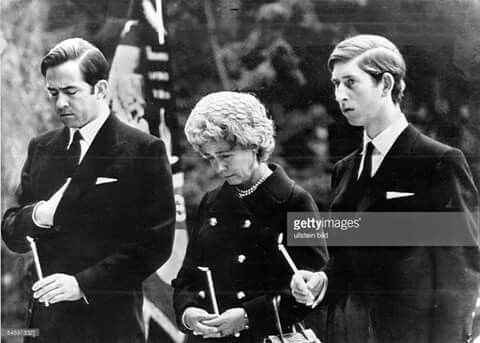From left: King Constantine of Greece, Queen Frederike of Greece and Prince Charles of Engand. I am not sure what this ceremony is for, but I believe it may be a memorial service possibly for Queen Frederike's husband?