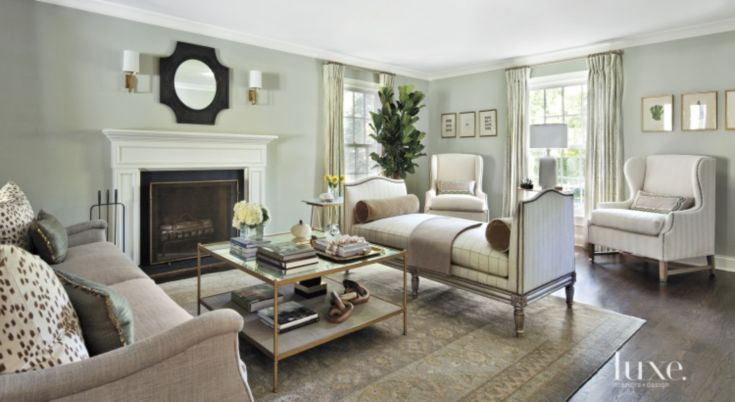 Transitional Pale Green Living Room with Fireplace