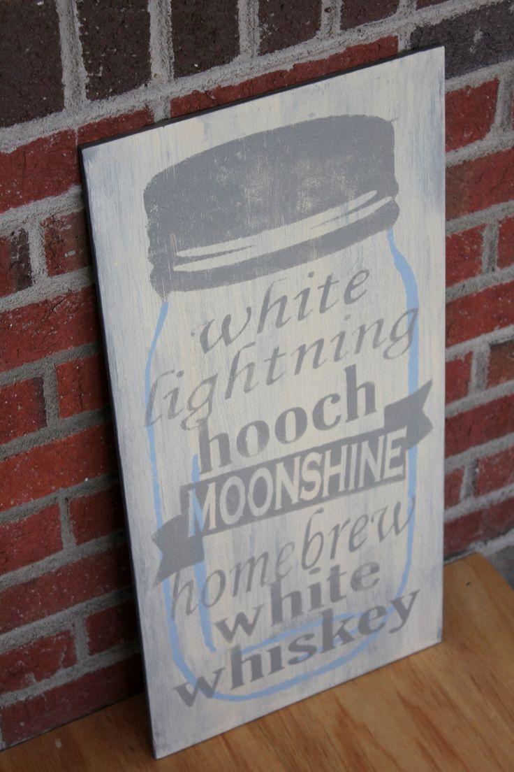Moonshine Slang Names - Painted wood sign - Mason Jar - Rustic Home Décor FREE SHIPPING! www.woodgraingrits.com