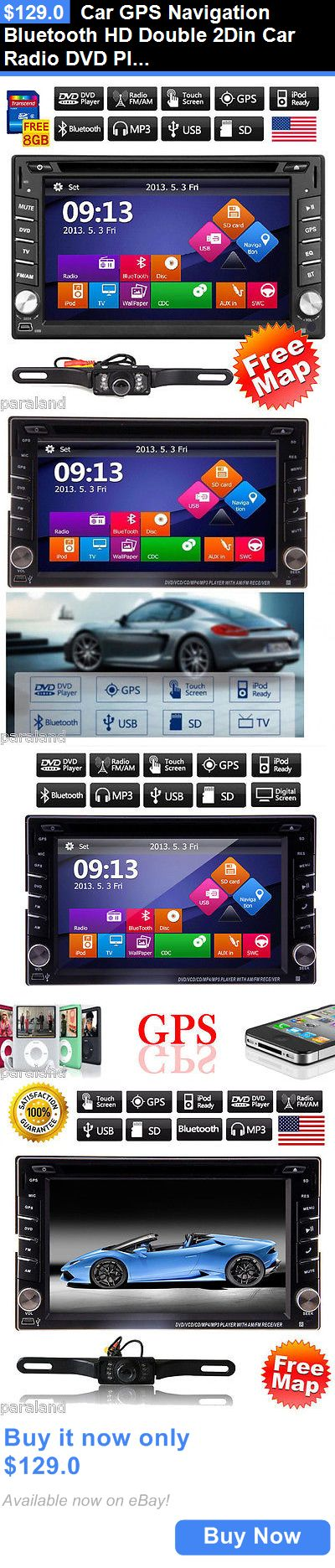 Vehicle Electronics And GPS: Car Gps Navigation Bluetooth Hd Double 2Din Car Radio Dvd Player Stereo With Map BUY IT NOW ONLY: $129.0