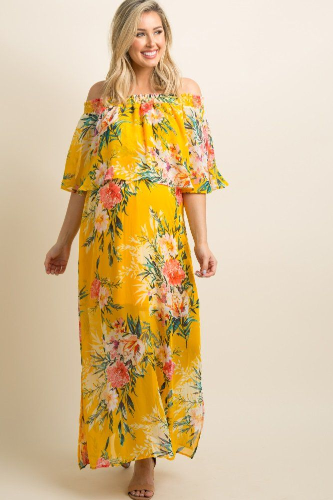 b7c07ea7b934 Yellow Floral Chiffon Off Shoulder Ruffle Maternity Maxi Dress