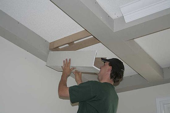 Faux beams (beadboard ceiling project)