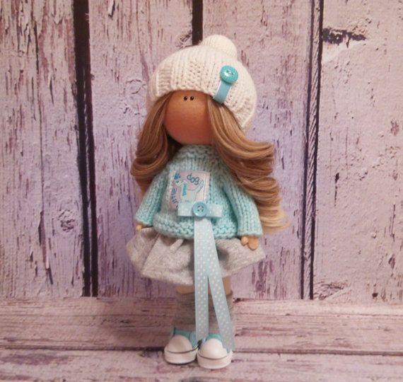 Cloth doll doll Tilda doll Art doll handmade brown black colors Rag doll Soft doll Fabric doll Home doll by Master Irina Bukina