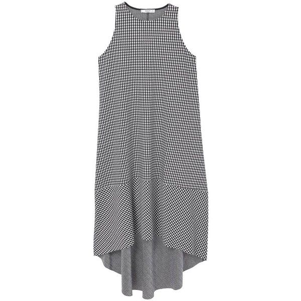 MANGO Gingham check dress (935 MXN) ❤ liked on Polyvore featuring dresses, tops, round neck dress, flare dress, asymmetrical hem dress, flared dresses and gingham print dress