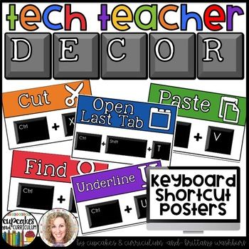 You can have an adorable and stylish classroom while still maintaining a highly academic environment! This set of Technology Themed Decor Keyboard Shortcuts is colorful and creative so you can decorate your computer lab, media center, or classroom while holding your students accountable for using the keyboard shortcuts they learn.