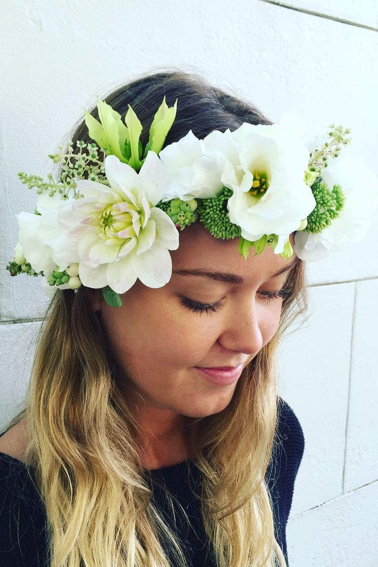 22 best floral crowns images on pinterest floral crown floral soft white green toned flower crown whfmanly whfweddings flowercrown whiteflowercrown izmirmasajfo
