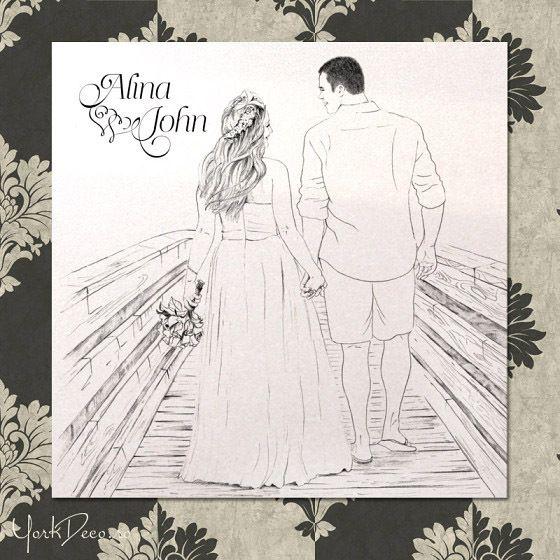 Invitații de nuntă la comandă cu ilustrația mirilor - YorkDeco.ro