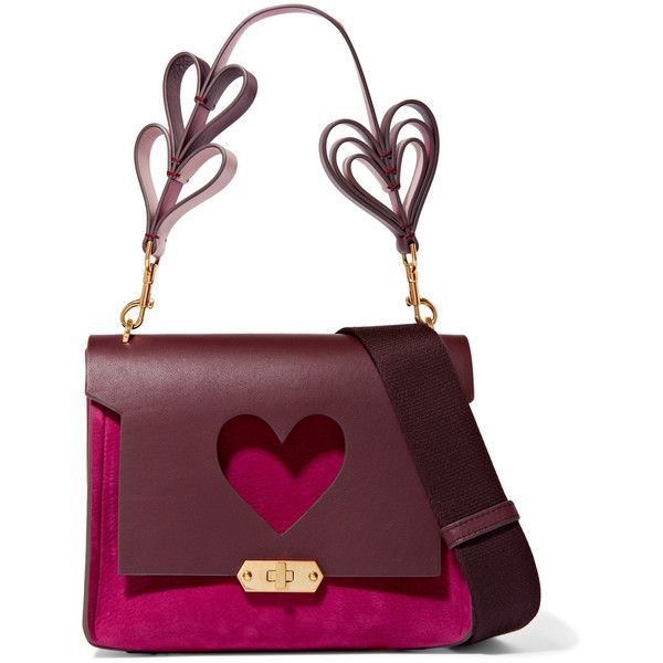Anya Hindmarch Bathurst small leather and suede shoulder bag ($1,555) ❤ liked on Polyvore featuring bags, handbags, shoulder bags, fuchsia, leather purses, leather shoulder bag, heart purse, leather shoulder handbags and white handbags