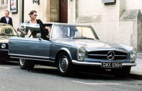 Kate Moss + classic Mercedes-Benz 280SL, London, 2002
