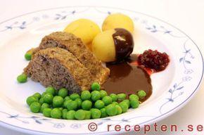 Recept på den goda klassiska maträtten köttfärslimpa med brunsås. Mycket enkelt att göra. Bilder steg för steg.