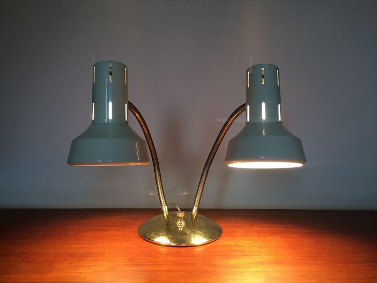 Funky MCM Dual Light w Bendable Arm Desk Lamp Goldtone base/arms w Cream Colour Metal Shades