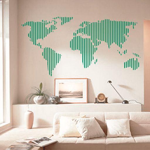 vinilo decorativo mapamundi formado nicamente por rayas verticales ideal para decorar una pared de forma - Vinilos Baratos