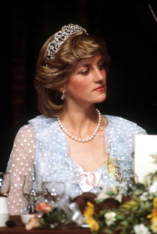 Princess Diana at banquet in Auckland, New Zealand, April 1983. She is wearing the Spencer family tiara and a gown by The Emanuels.