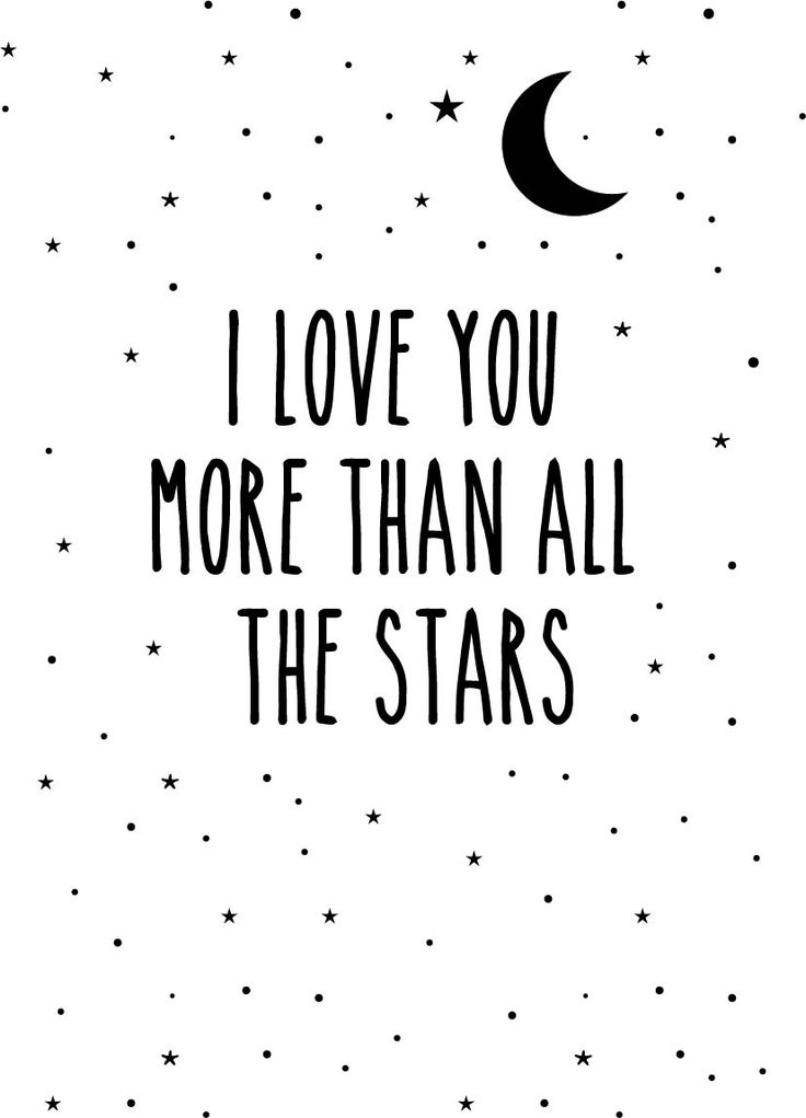 Poster 'I love you more than all the stars' von Eef Lillemor, erhältlich bei www.papermint.ch: