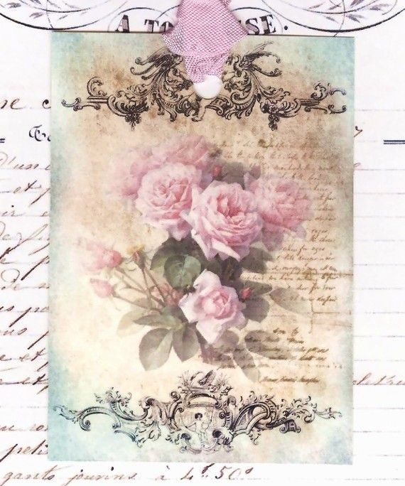 Romantic Faded French Roses    Pink Roses  Gift by Bluebirdlane, $6.00