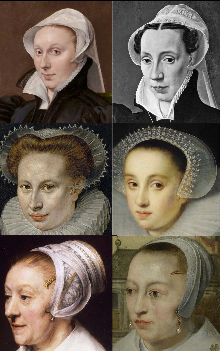 Top: Veils with folds that suggest an ear irons in paintings by Anthonis Mor and Willem Key.. Middle: Caps with simple ear irons in paintings by Frans Pourbus and Gortzius Geldorp. Bottom: Elaborate ear irons in paintings by Rembrandt and Barent Fabritius.