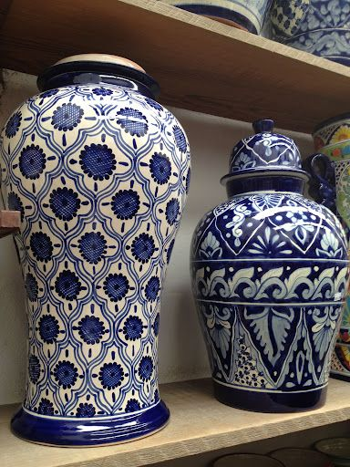 Blue and white ginger jars at Talavera Vazquez, just some of their many wonderful designs. #mexico #ceramics #pottery