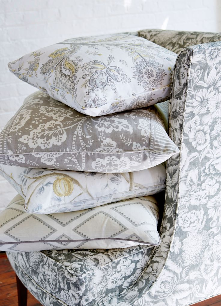 Sarah Richardson for Kravet Collections, grey pillow stack                                                                                                                                                      More