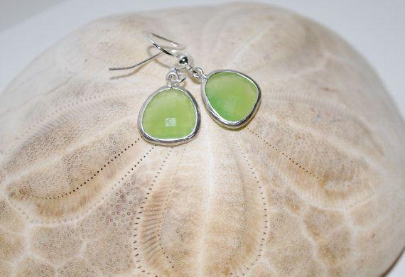 Kiwi Green gem drop earrings green and silver by KimMcCallJewelry