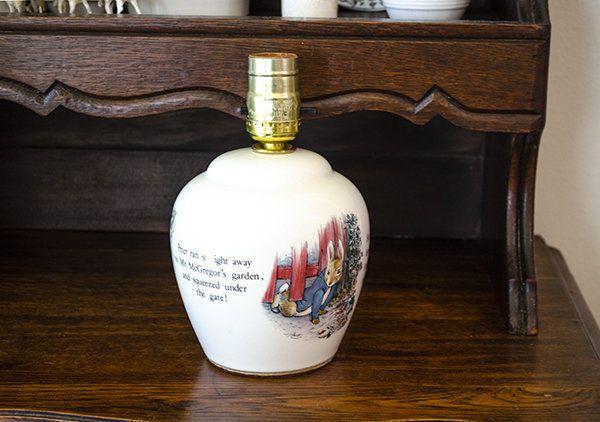 Vintage English Peter Rabbit Lamp, Wedgwood Peter Rabbit Lamp