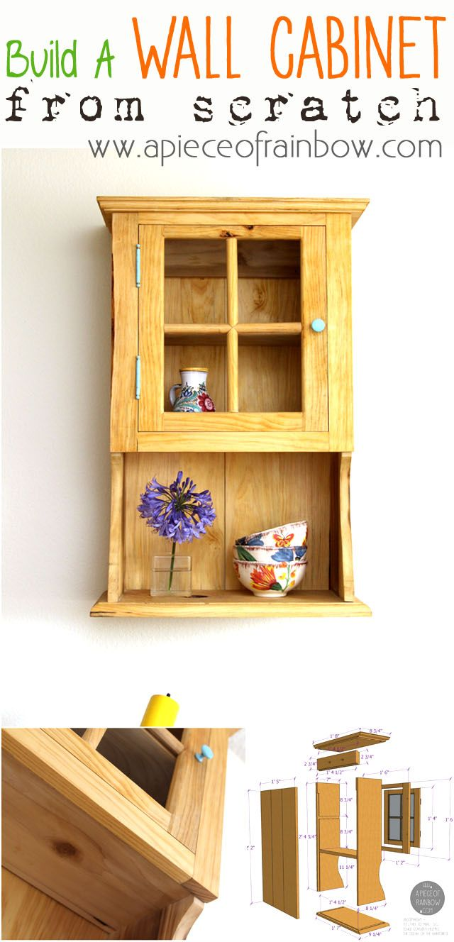 Make wall hanging cabinet from scratch, inspired by vintage Shaker Jelly Cabinets!  | A Piece Of Rainbow