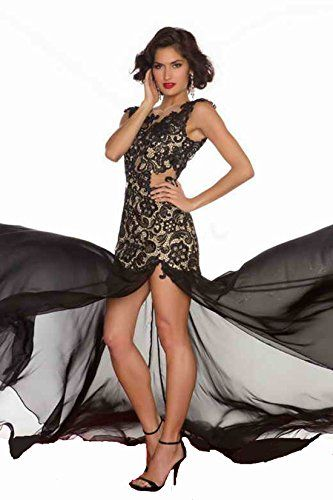 IDOBRIDAL Sexy Strapless Black Lace Cocktail Bridesmaid Evening Party Prom Dress 09- US size 6 IDOBRIDAL
