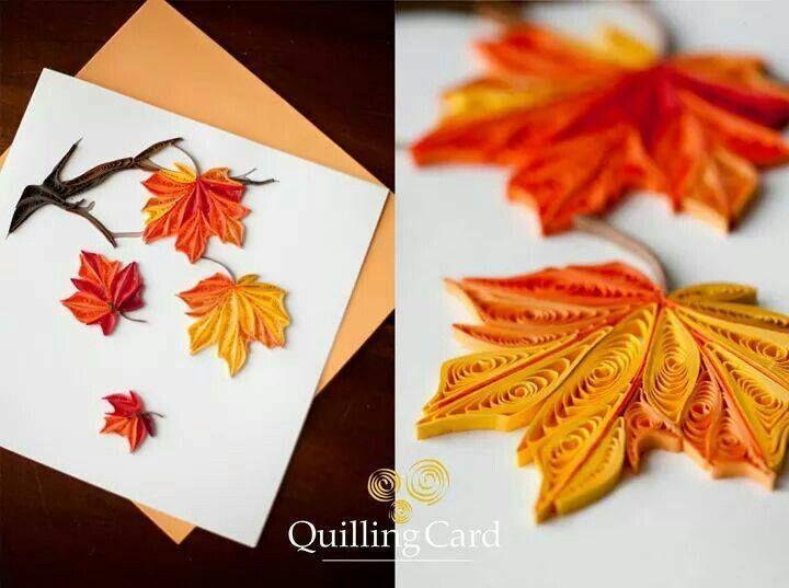 открытка с осенними листьями из бумаги своими руками думаю