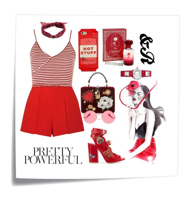 """""""Fifty Shades of Red"""" by devarahma on Polyvore featuring Post-It, Laurence Dacade, Dolce&Gabbana, Alice + Olivia, Topshop, Kate Spade, DANNIJO, Disney, Ray-Ban and Hermès"""