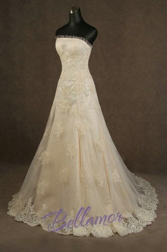 Farig Vintag Hochzeitskleid mit Spitze Trägerlos A-Linie